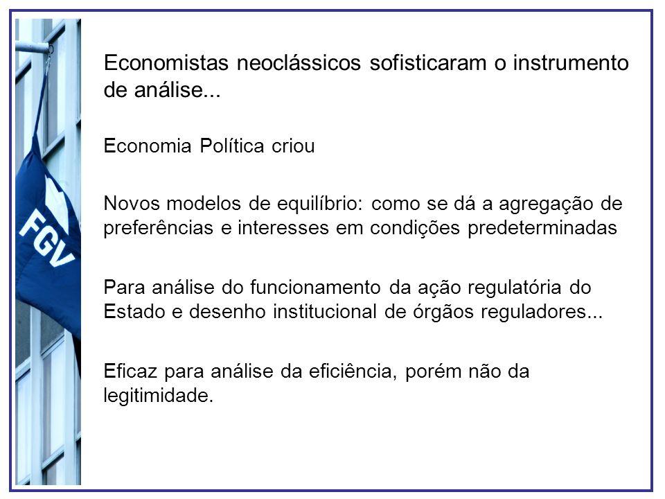 Economistas neoclássicos sofisticaram o instrumento de análise...
