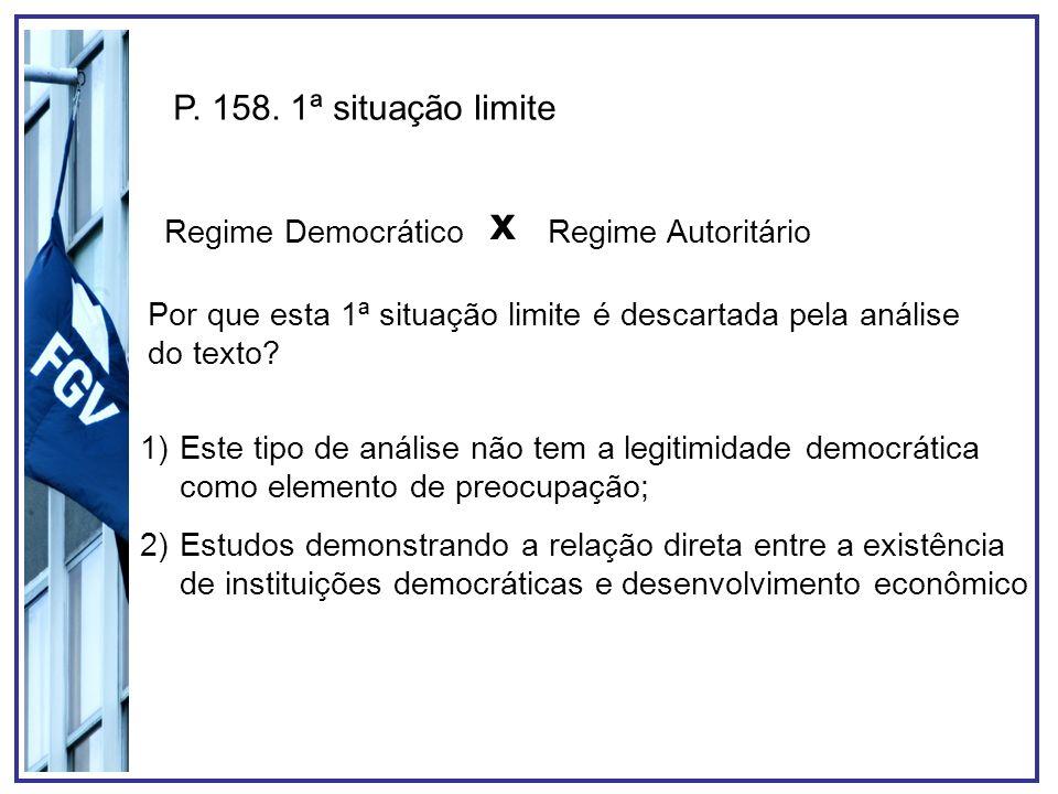 x P. 158. 1ª situação limite Regime Democrático Regime Autoritário