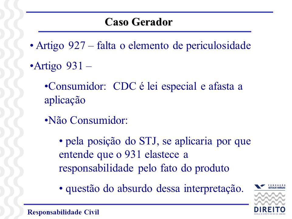 Artigo 927 – falta o elemento de periculosidade Artigo 931 –