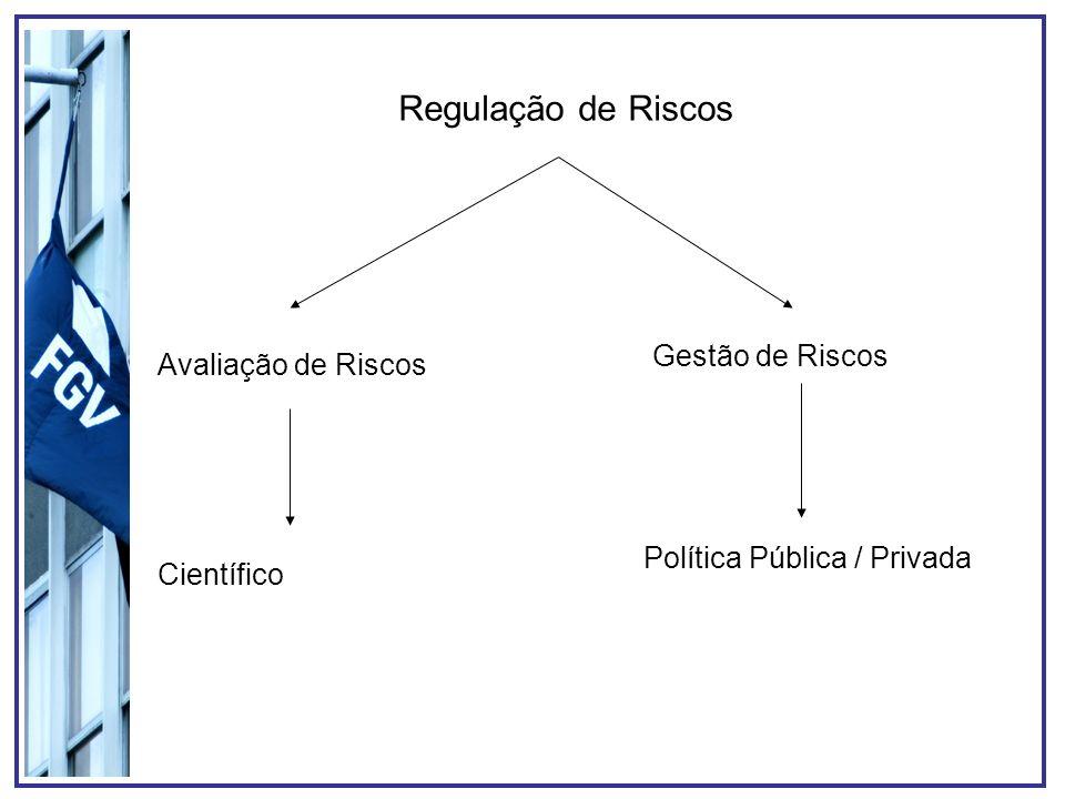 Regulação de Riscos Gestão de Riscos Avaliação de Riscos