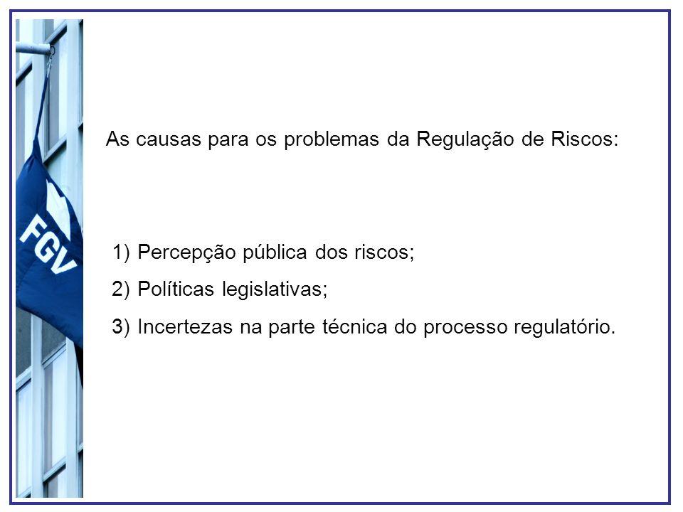 As causas para os problemas da Regulação de Riscos: