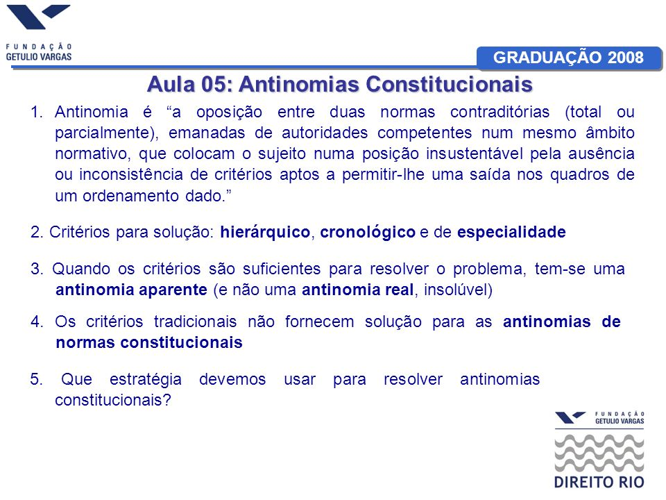 Aula 05: Antinomias Constitucionais