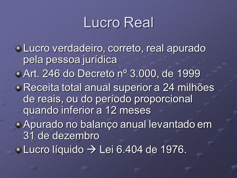 Lucro Real Lucro verdadeiro, correto, real apurado pela pessoa jurídica. Art. 246 do Decreto nº 3.000, de 1999.