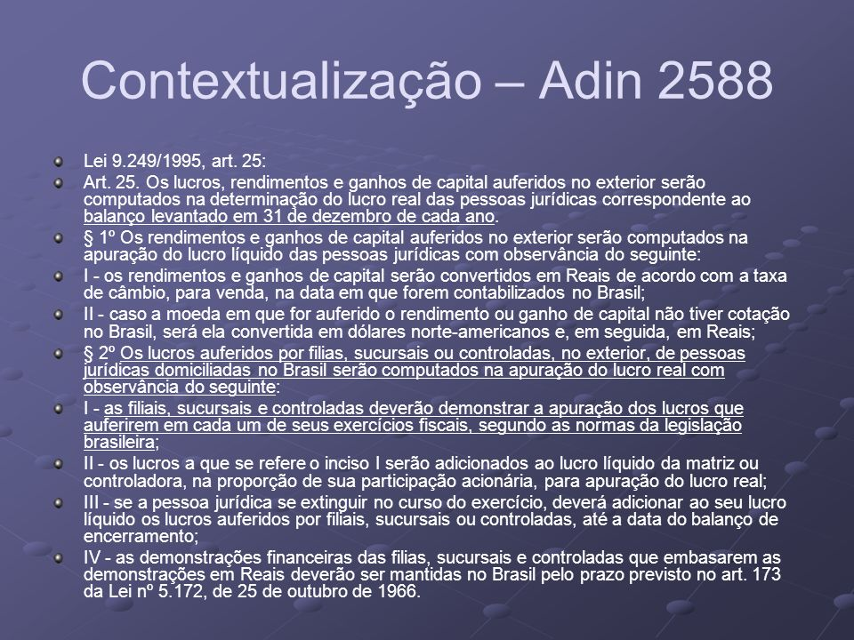 Contextualização – Adin 2588