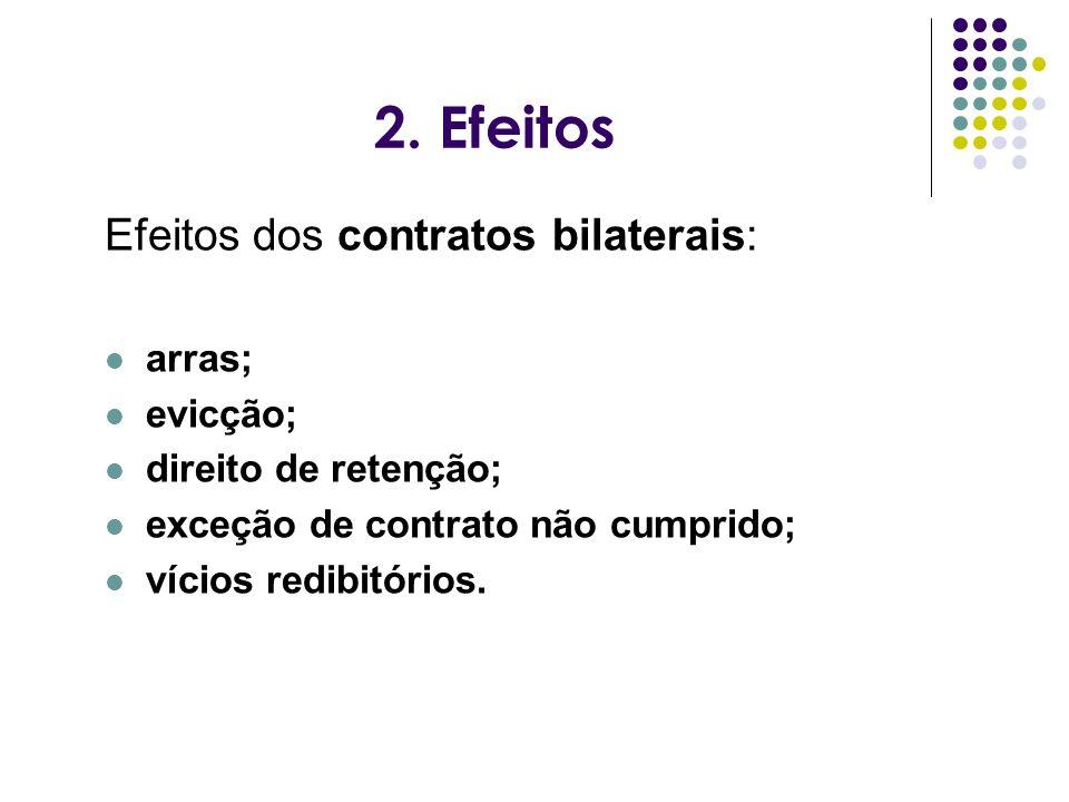 2. Efeitos Efeitos dos contratos bilaterais: arras; evicção;