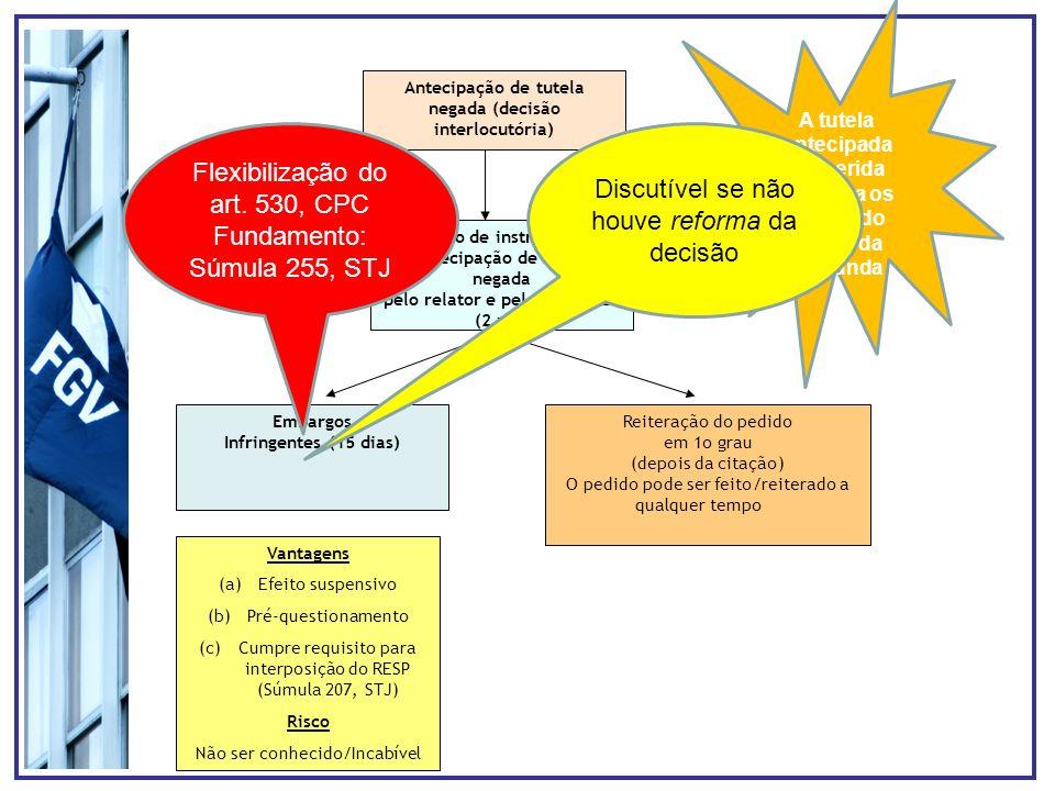 Flexibilização do art. 530, CPC Fundamento: Súmula 255, STJ