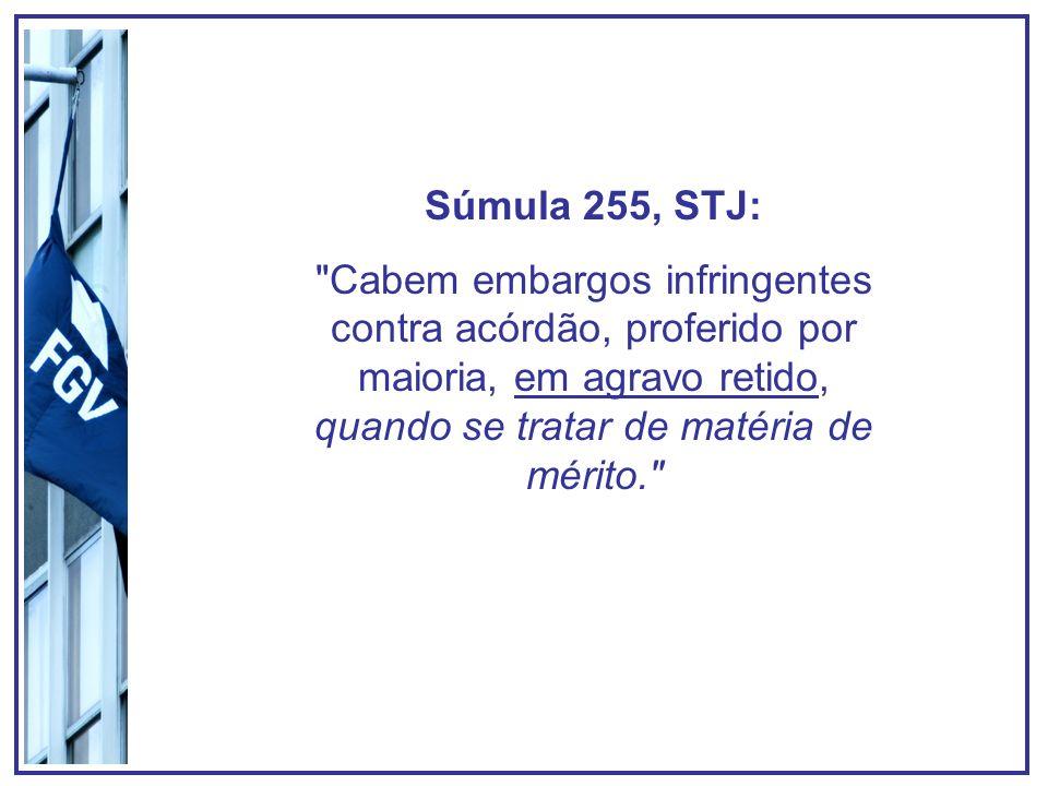 Súmula 255, STJ: Cabem embargos infringentes contra acórdão, proferido por maioria, em agravo retido, quando se tratar de matéria de mérito.