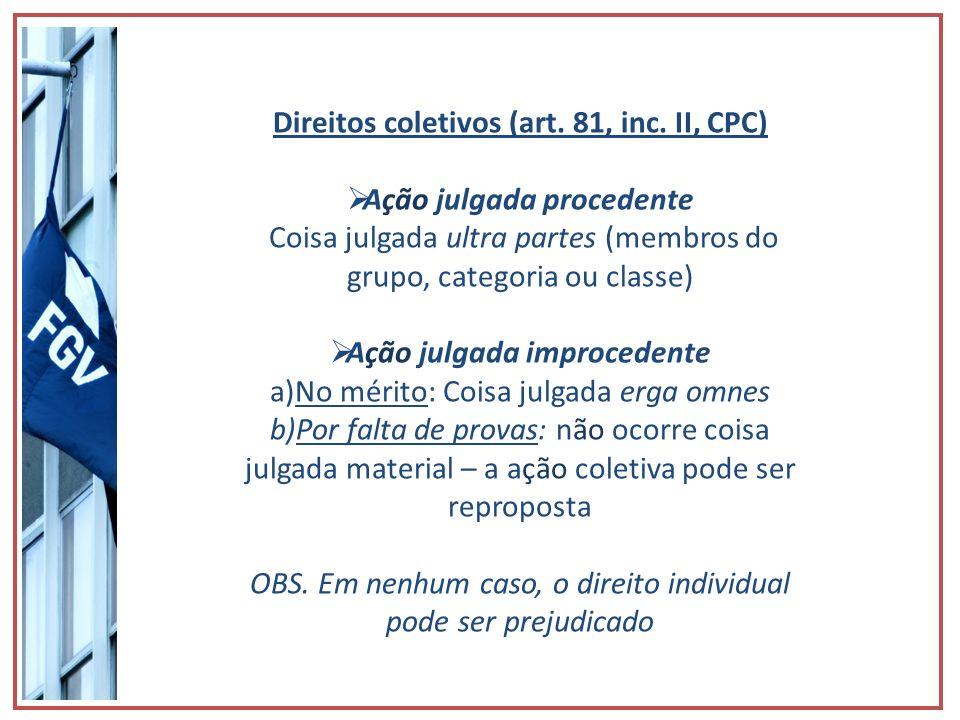 Direitos coletivos (art. 81, inc. II, CPC) Ação julgada procedente