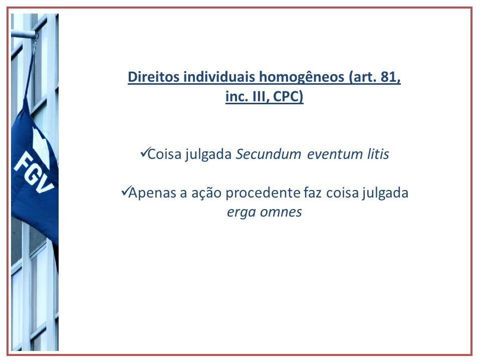 Direitos individuais homogêneos (art. 81, inc. III, CPC)