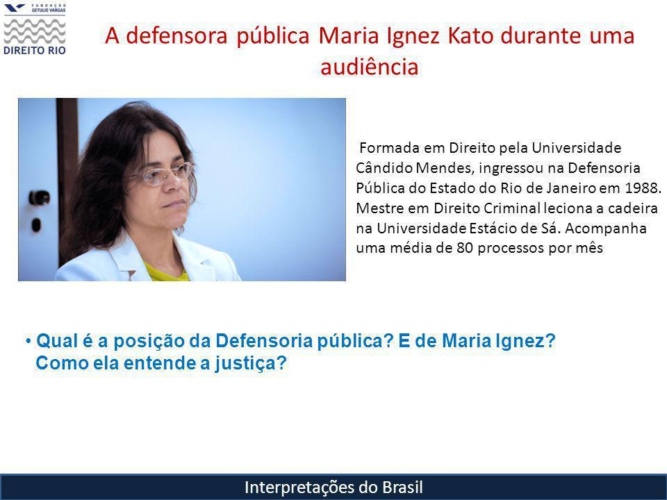 A defensora pública Maria Ignez Kato durante uma audiência