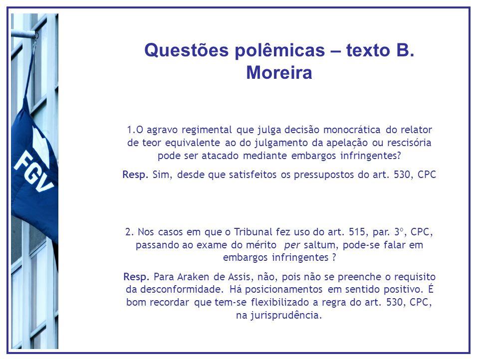 Questões polêmicas – texto B. Moreira