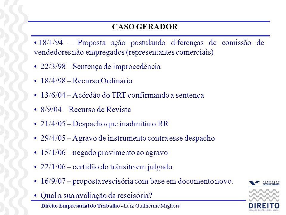 22/3/98 – Sentença de improcedência 18/4/98 – Recurso Ordinário