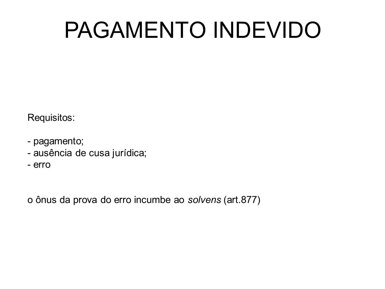 PAGAMENTO INDEVIDO Requisitos: - pagamento;