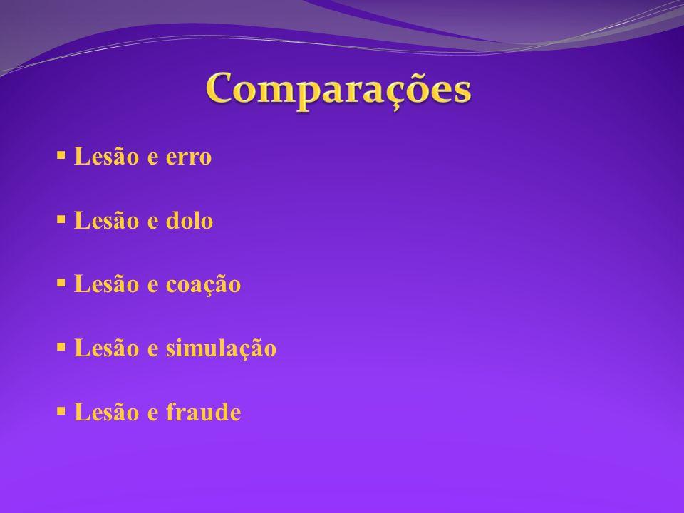 Comparações Lesão e erro Lesão e dolo Lesão e coação Lesão e simulação