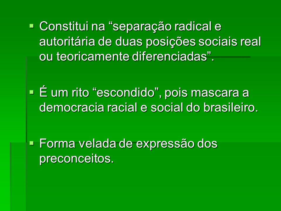 Constitui na separação radical e autoritária de duas posições sociais real ou teoricamente diferenciadas .