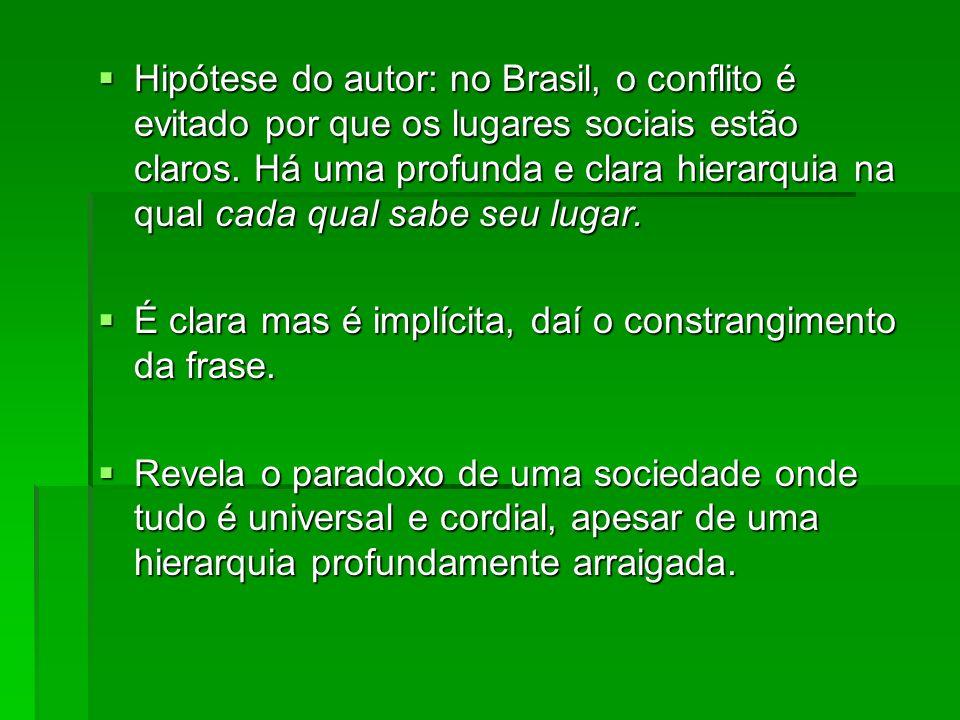 Hipótese do autor: no Brasil, o conflito é evitado por que os lugares sociais estão claros. Há uma profunda e clara hierarquia na qual cada qual sabe seu lugar.