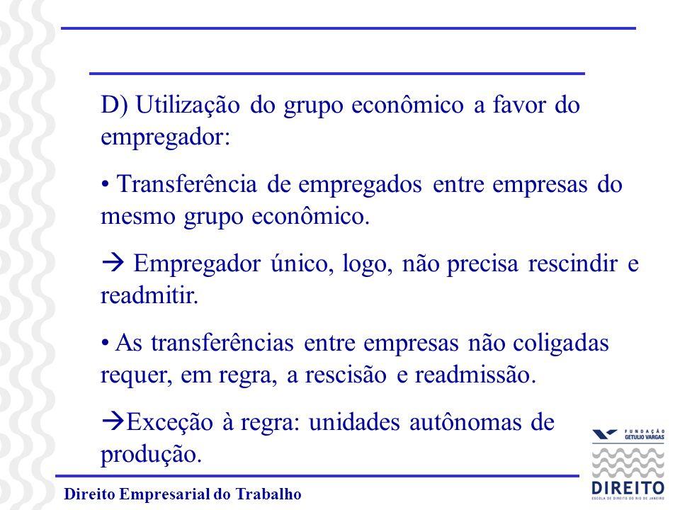 D) Utilização do grupo econômico a favor do empregador: