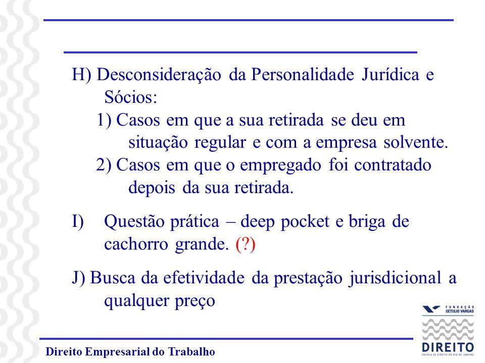 H) Desconsideração da Personalidade Jurídica e Sócios: