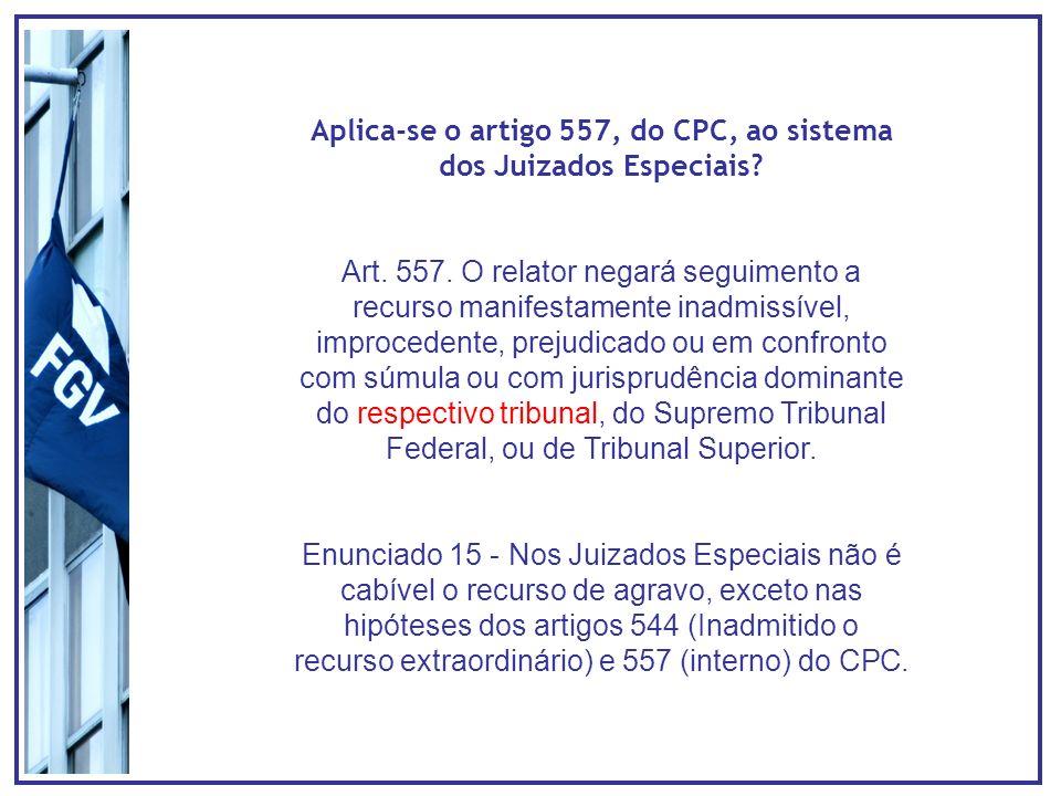 Aplica-se o artigo 557, do CPC, ao sistema dos Juizados Especiais