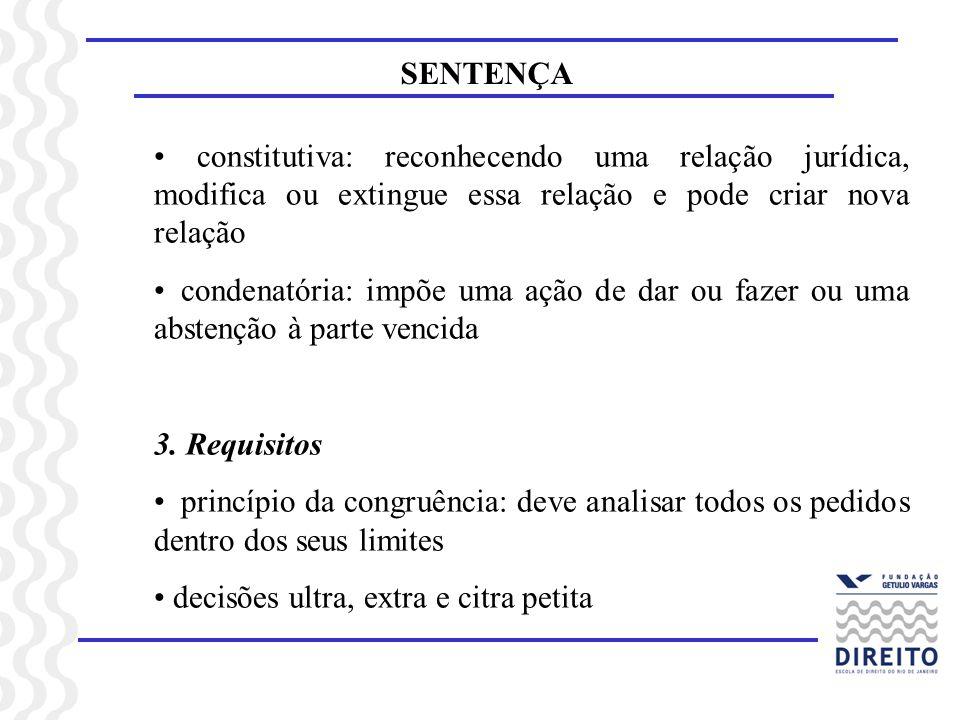 SENTENÇA constitutiva: reconhecendo uma relação jurídica, modifica ou extingue essa relação e pode criar nova relação.
