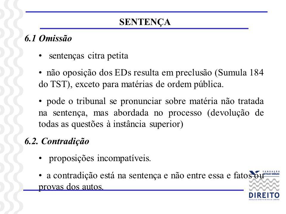 SENTENÇA 6.1 Omissão. sentenças citra petita. não oposição dos EDs resulta em preclusão (Sumula 184 do TST), exceto para matérias de ordem pública.