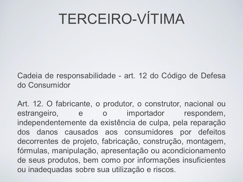 TERCEIRO-VÍTIMA Cadeia de responsabilidade - art. 12 do Código de Defesa do Consumidor.