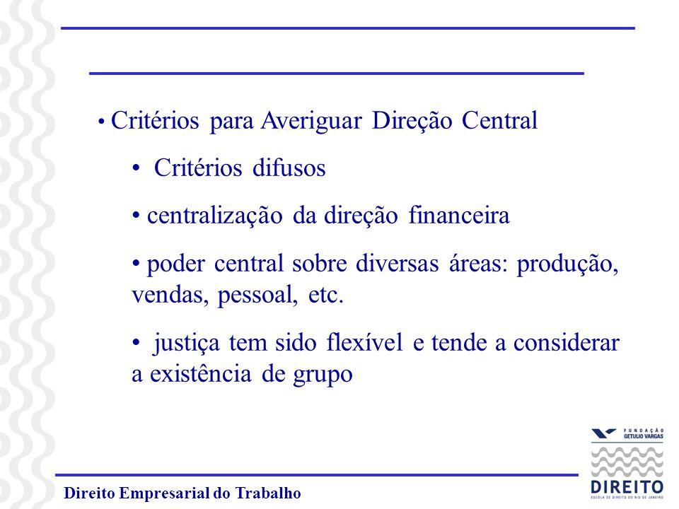 centralização da direção financeira