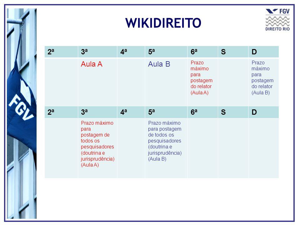 WIKIDIREITO 2ª 3ª 4ª 5ª 6ª S D Aula A Aula B