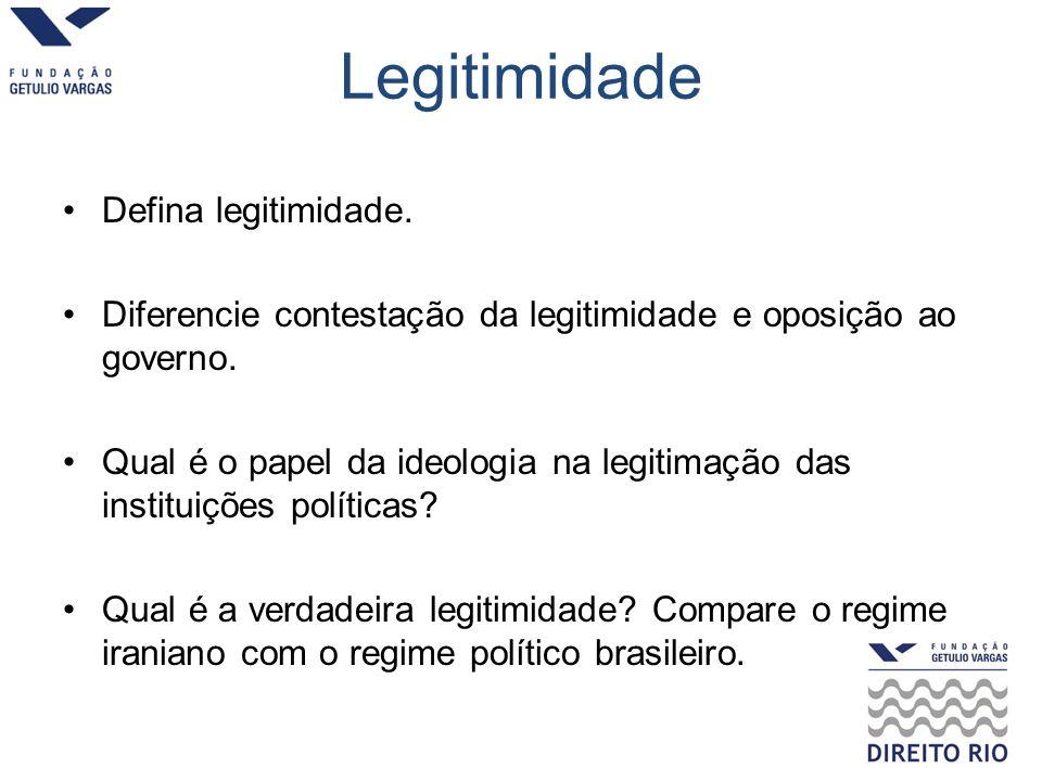 Legitimidade Defina legitimidade.