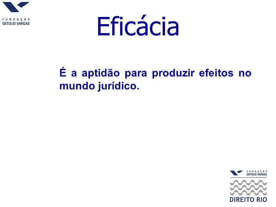 Eficácia É a aptidão para produzir efeitos no mundo jurídico.