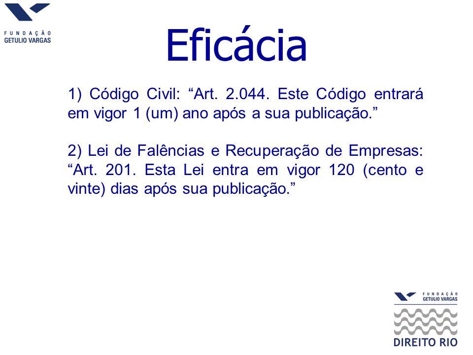 Eficácia 1) Código Civil: Art. 2.044. Este Código entrará em vigor 1 (um) ano após a sua publicação.