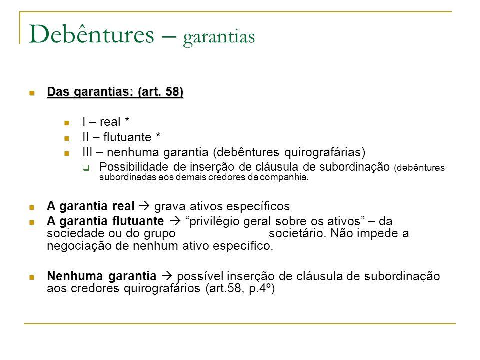 Debêntures – garantias