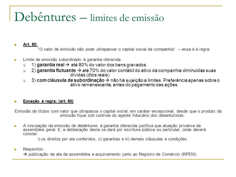 Debêntures – limites de emissão