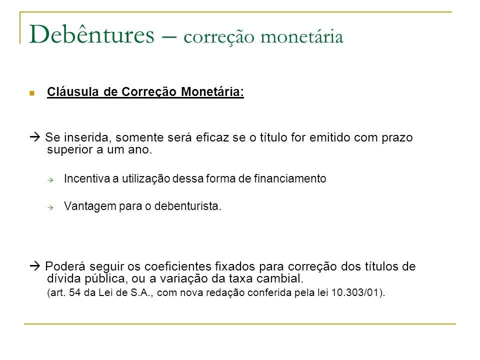 Debêntures – correção monetária