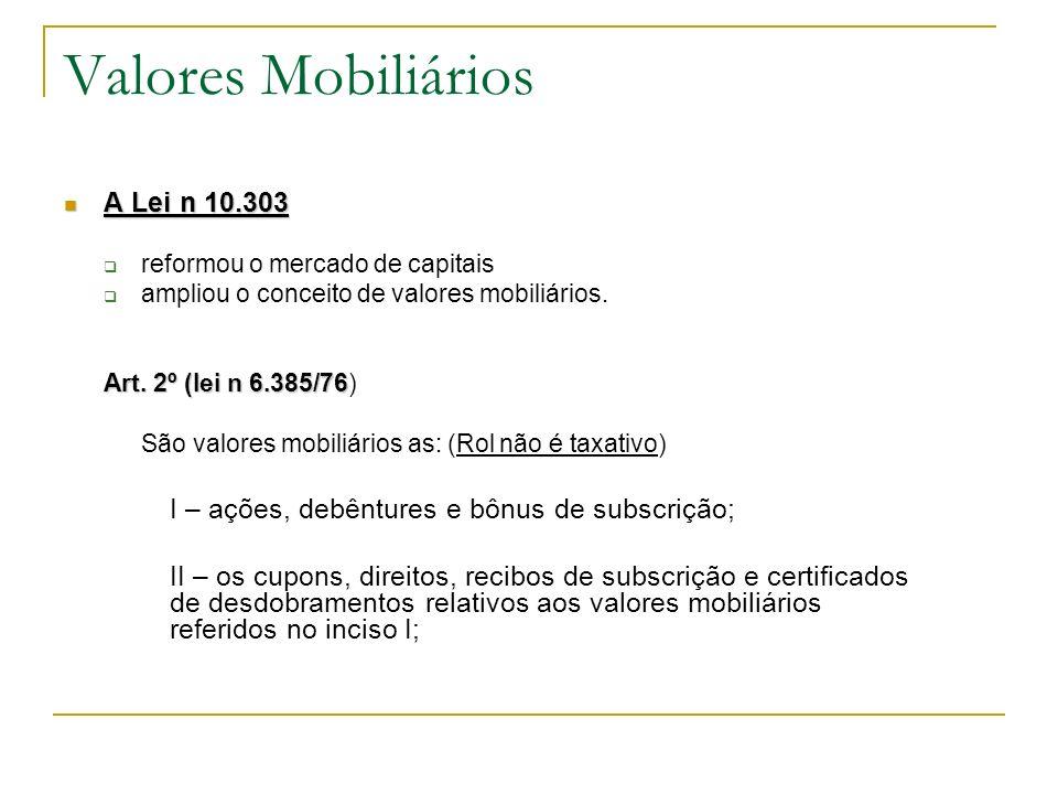 Valores Mobiliários A Lei n 10.303