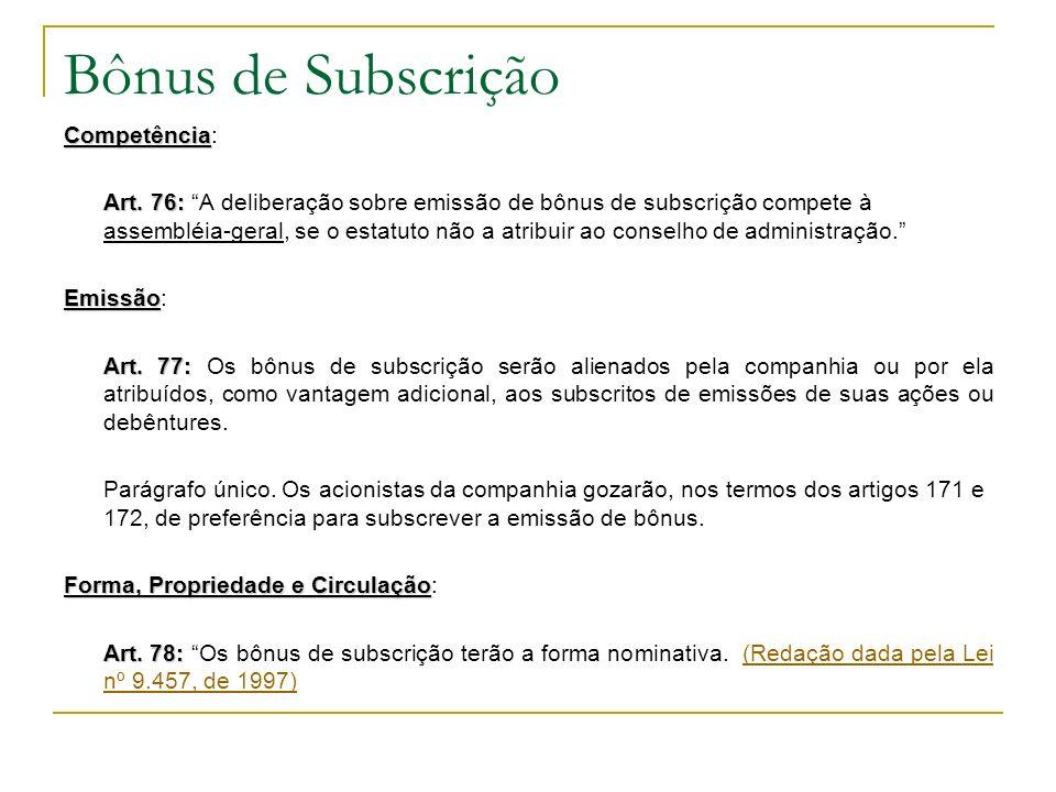 Bônus de Subscrição Competência: