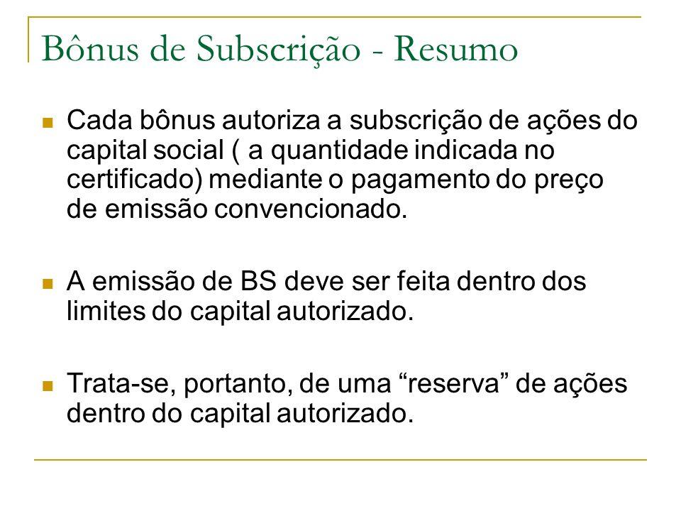 Bônus de Subscrição - Resumo