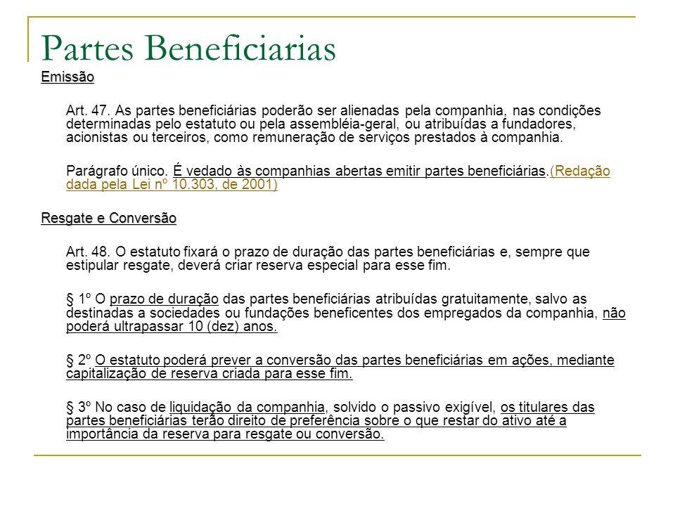 Partes Beneficiarias Emissão