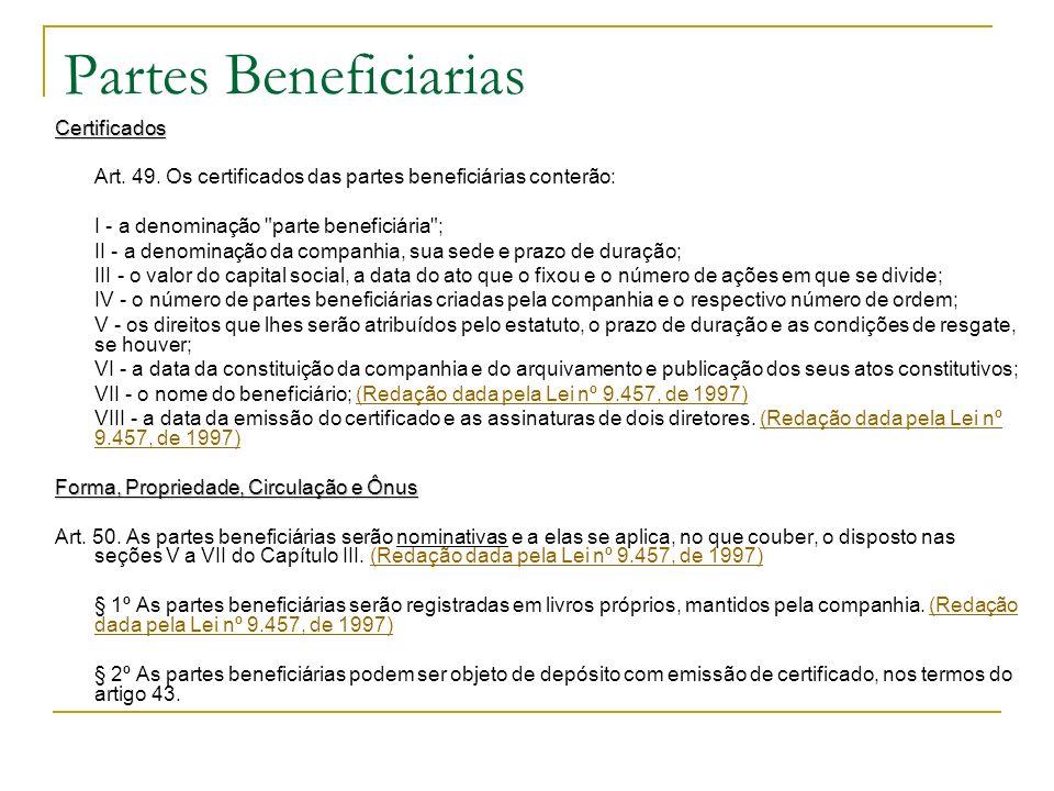 Partes Beneficiarias Certificados
