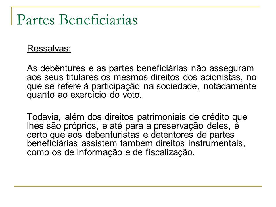 Partes Beneficiarias Ressalvas: