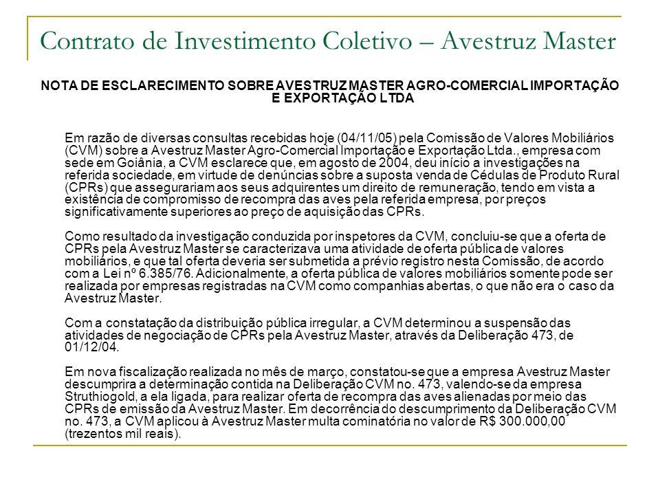 Contrato de Investimento Coletivo – Avestruz Master