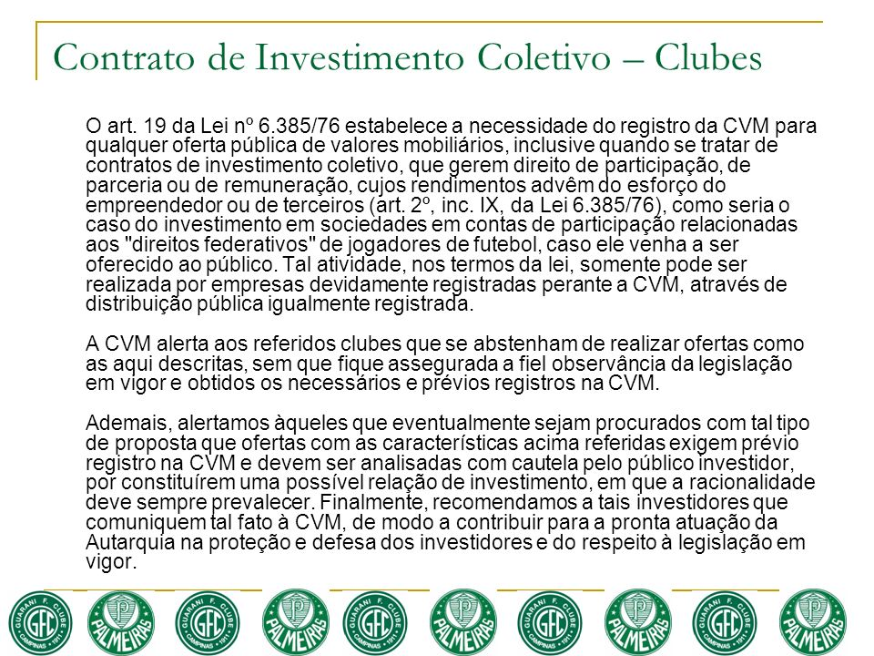 Contrato de Investimento Coletivo – Clubes