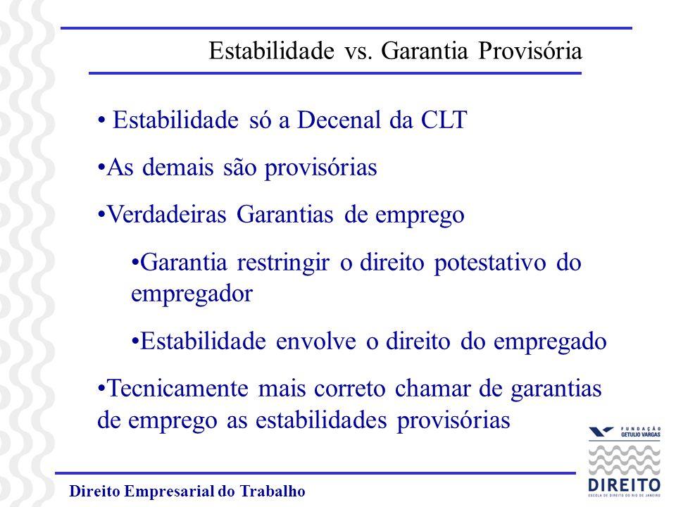 Estabilidade vs. Garantia Provisória