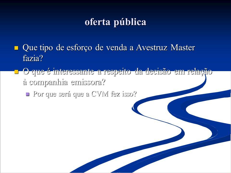 oferta pública Que tipo de esforço de venda a Avestruz Master fazia