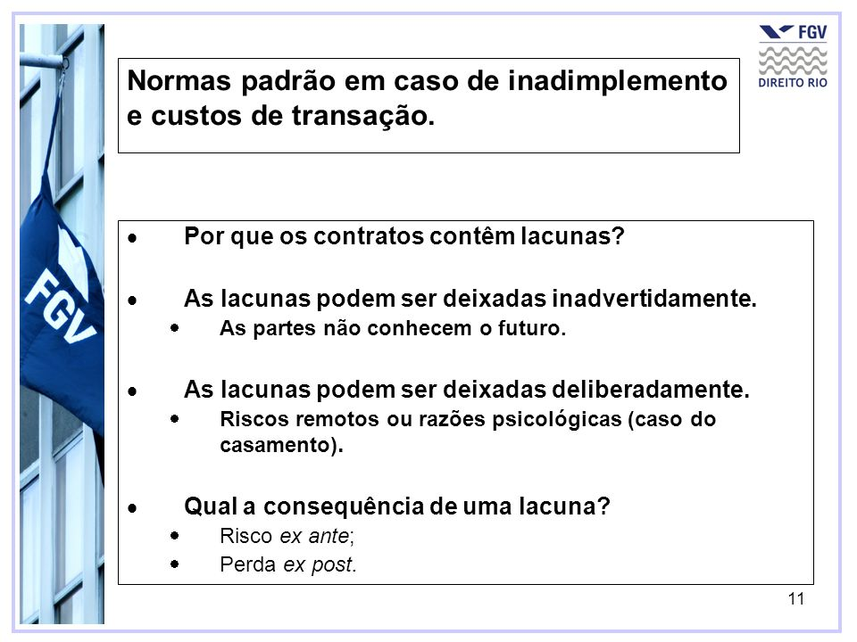 Normas padrão em caso de inadimplemento e custos de transação.