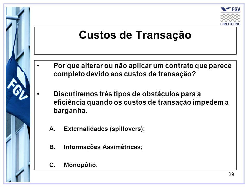 Custos de Transação Por que alterar ou não aplicar um contrato que parece completo devido aos custos de transação