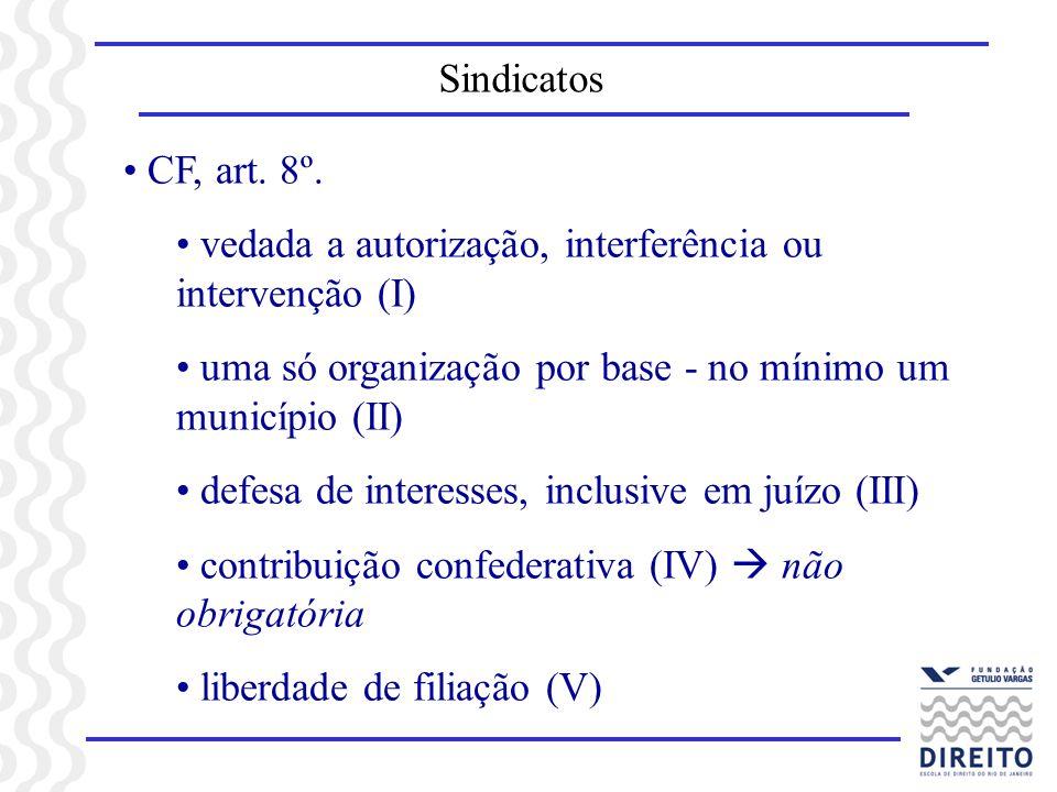 Sindicatos CF, art. 8º. vedada a autorização, interferência ou intervenção (I) uma só organização por base - no mínimo um município (II)