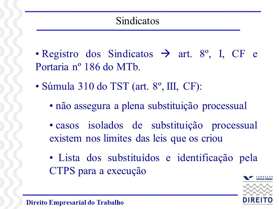 Registro dos Sindicatos  art. 8º, I, CF e Portaria nº 186 do MTb.
