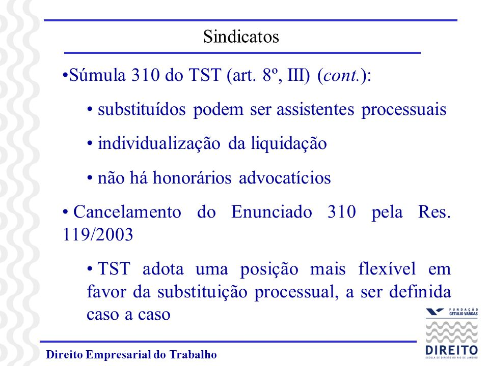 Súmula 310 do TST (art. 8º, III) (cont.):