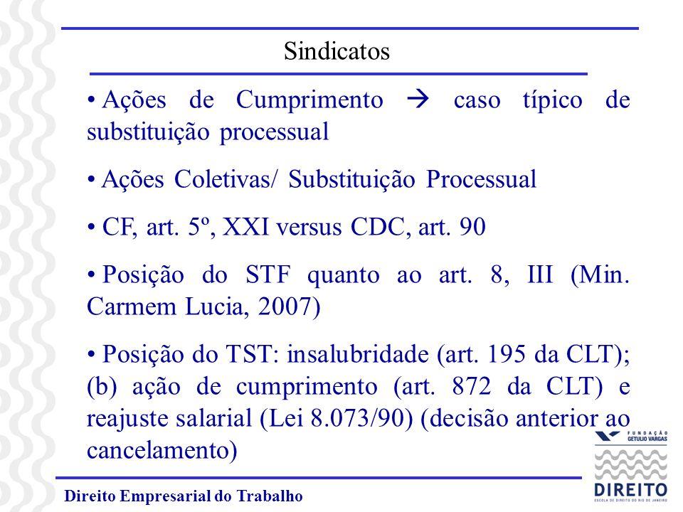 Ações de Cumprimento  caso típico de substituição processual
